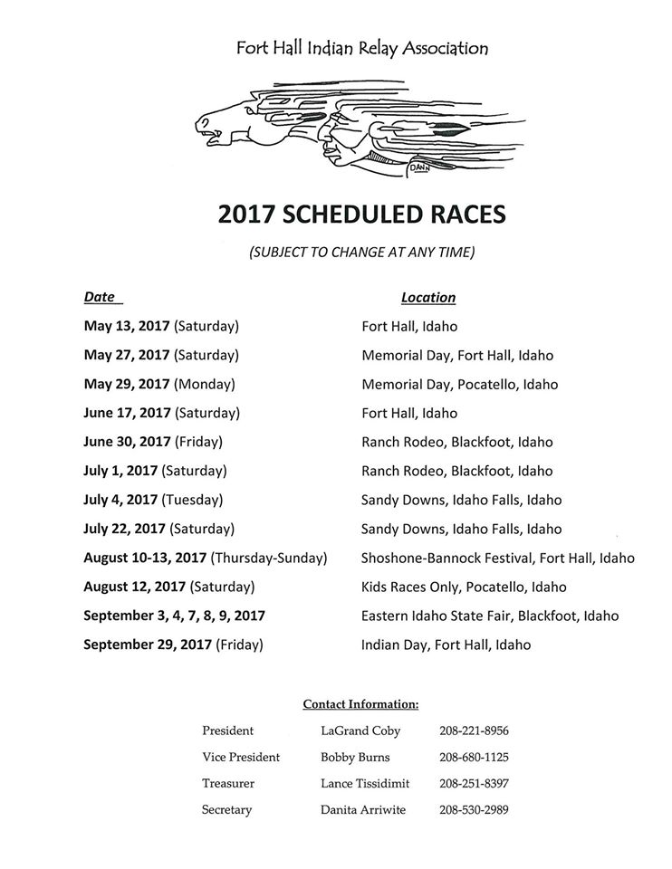 Indian Relay Schedule 2017