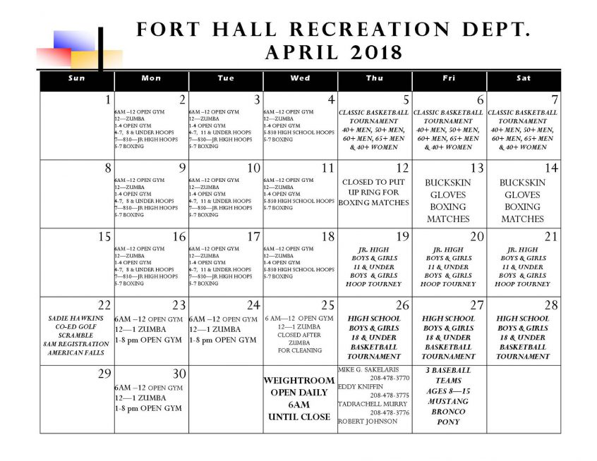 Fort Hall Recreation: April events announced – Shoshone