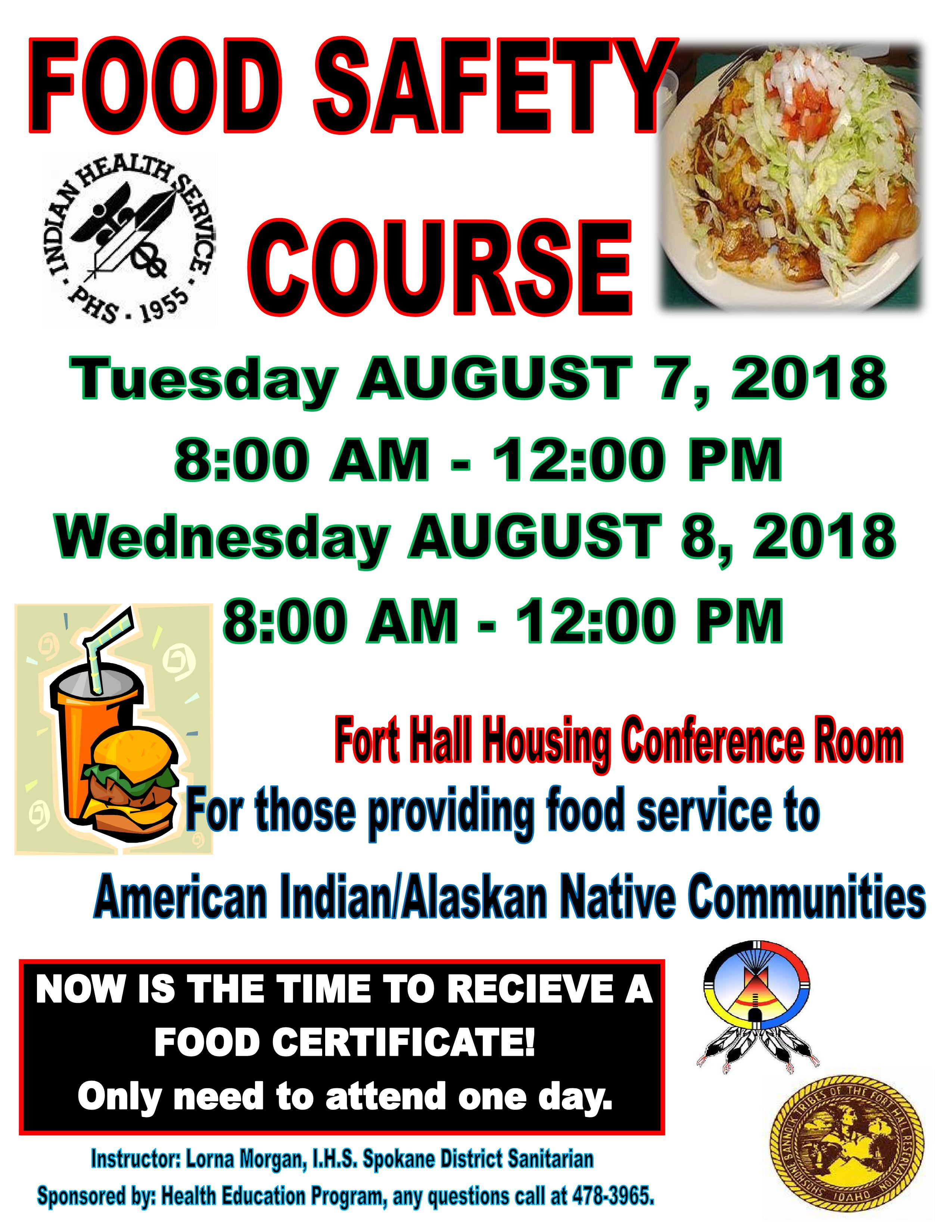 Food Safety and Handling Course – Shoshone-Bannock Tribes