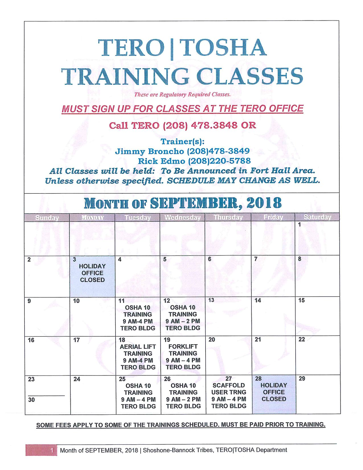 TERO Training Classes