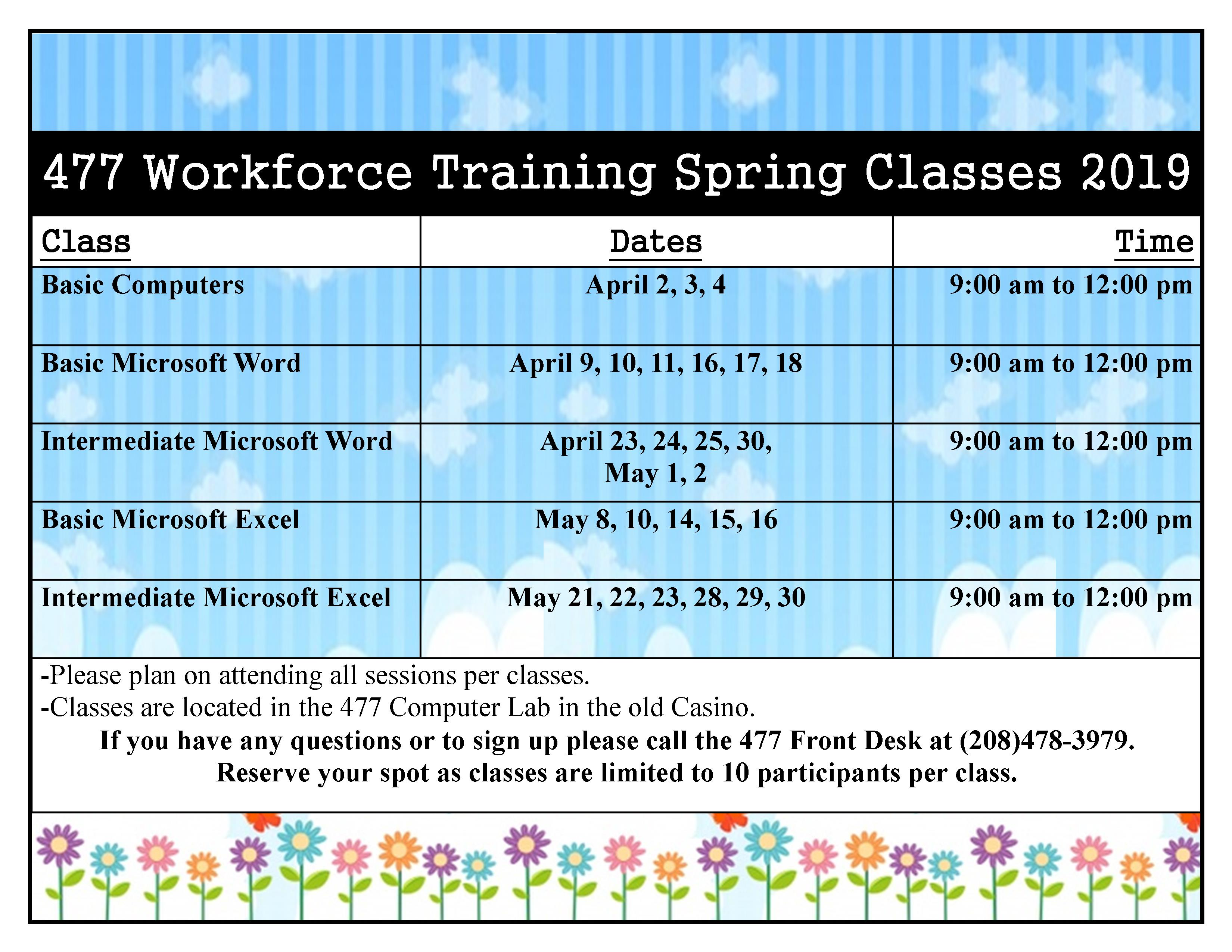 477 Spring Workforce Training Classes: Basic Microsoft Word